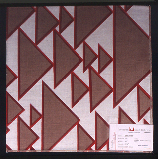 Varying size triangles, all facing one direction and randomly placed to form a pattern. Tan triangles, outlined in red and printed on white.