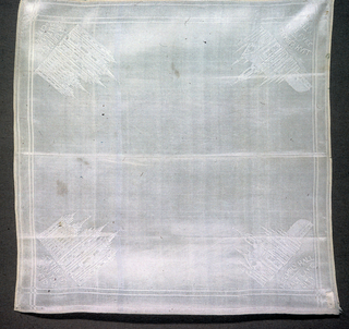 Square white towel depiciting the Temple and Assembly Hall of Salt Lake City in each corner.
