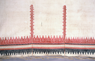 Long panel, probably a curtain, embroidered across end, up sides and joinings, in red and blue silk, with touches of yellow; drawnwork band worked over in cream silk. Ends fringed from cotton. Design of stylized trees above and below horizontal band of embroidery and drawnwork.