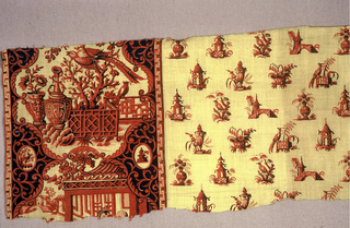 Printed fragment with a wide border of Chinoiserie motifs and in an allover pattern of pagodas, birds on a tree and vase with flowers. Printed in red on a yellow ground.