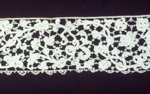 Needlepoint lace border of Venetian Point. Curving intertwining vine and foliage flower design.