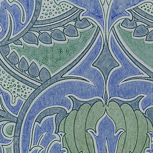 a) Two shades of blue and green, outlined in dark green, on pale green ground; b) black and white cunacuous floral forms; c) two shades of pink and pale green, outlined in brown on pale pink ground.