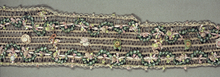 Long strip, widening toward the bottom, of openwork effect formed by silk-wound linen strands bound at intervals by silk warps. Serpentine of green ribbon tied to form small scallops applied to it with accenting silk floss flowers. Scalloped edges of chenille.