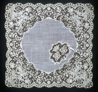 Handkerchief edged on all sides with wide border and royal initials in center. Northern Europe.