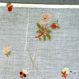 Fragment, very fine white cotton, plain cloth, probably Indian, embroidered in detached flower designs, natural size, in wool. Yellow, red, orange, rose, white. Chain stitch. Selvage at left side.