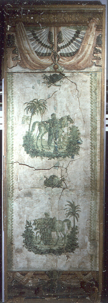 One panel of a folding screen, featuring a figural landscape pattern with two soldiers: one mounting horse, the other resting against, printed in green; drapery swag border at top of panel, with narrow border at bottom.