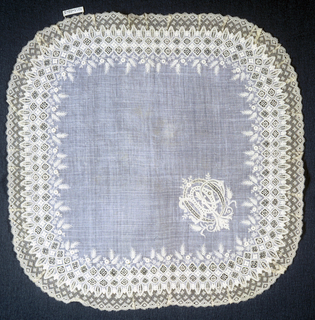 """White handkerchief of fine cream white linen with border decorated with open work in diamond shapes, framing small designs in lace stitches; flower sprays and wheat above border. Edge is scalloped with oval-shaped forms framing open work and lace stitch details. Bobbin lace edge. Corners rounded. Large corner initial: """"P.D.O."""""""