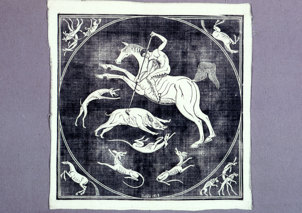 """Cream-colored square with a block printed design in black showing a naked horseman spearing a wild boar that is surrounded by hunting dogs. In corners outside circle are horses and dogs. Design mostly reserved in color of the silk with black outlines and details. At the bottom of the circle: """"Biddle 1923."""""""