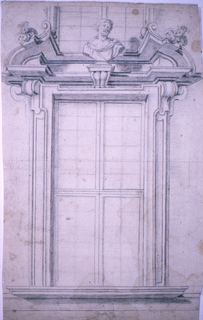 Window frame with broken pediment, bearded bust of a man in classical dress. Suggestion of window above. The window sill aligns with the entablature of the wall.