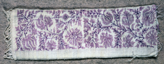 Band filled with flowering branches with large stylized flowerheads and many fine delicate leaves and berries. In light purple with darker purple details on a creamy white ground.
