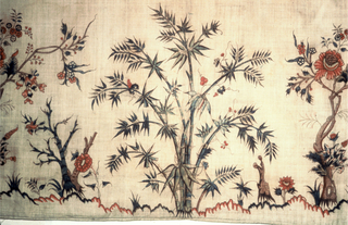 A palampore or tent hanging with a center field and border. The field is dominated by a tall, straight, slender palm (possibly date?) rising from a mound, with a full crown of feathery foliage and fruit clusters. From lower on the trunk spring, at one side, a small palm head, bending gracefully, and from the other side a down-curving branch of blossoms. From the mound grows a slender flowering vine, which divides and winds upward, forming a frame for the tree's head.