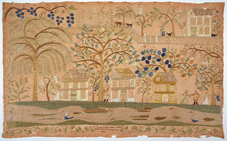 A landscape with three houses in a row, among trees and flowering plants along a river or pond with boats, ducks and fish. People walk among the houses and trees, and those on the far right are picking cherries. In the background (at upper right), a house among trees next to a garden with corn or grain with human figures and animals including a cow. The inscription reads: 