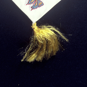 Woven souvenir ribbon with yellow tassel for the 1950 International Silk Congress held October 16–20, 1950.