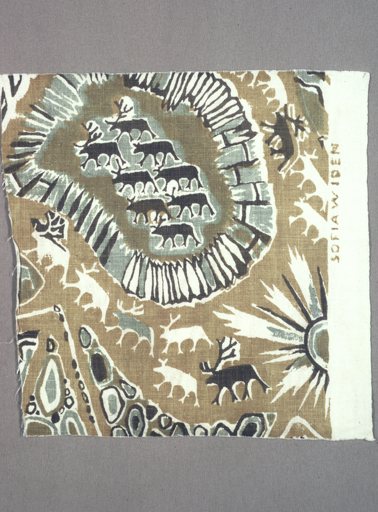 Stylized design of reindeer, midnight sun, and stone walls, in brown, gold, sage green, with many reserve areas, on white ground.