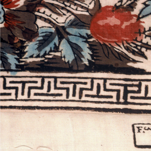 Mezzaro with a white ground printed in brilliant colors with a design adapted from Indian painted hangings. Central tree rises from a stylized mound, on which there are crudely rendered animals. Branches fill the entire length of the hanging along with large flowers, birds and butterflies. At left, a bamboo clump and palms, and at right, bamboo. Wide border in a design of flower baskets alternating with flower sprays, birds and butterflies.