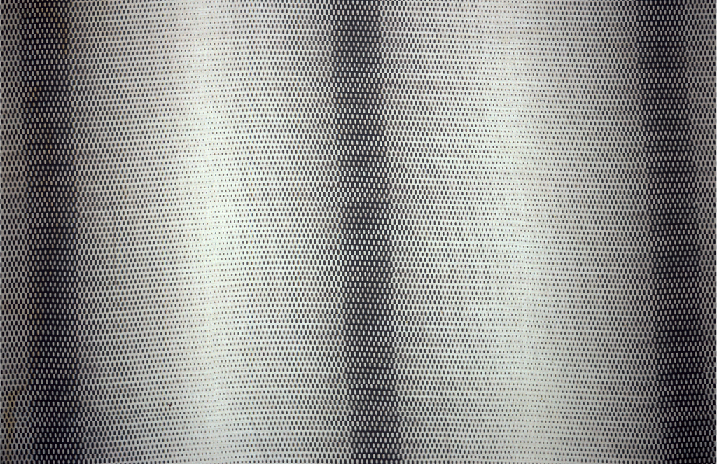 Length of printed cotton with broad horizontal bands resembling tubes, due to illusionistic shading from black to white and back, achieved by the artful arrangement of oval dots of varying sizes. Printed in black on sheer white cotton.