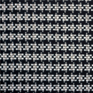 Firm coarse cloth with houndstooth check formed by warp (2 black, 2 gray) and weft (3 white, 2 black) threading. Woven for custom-made coats and suits.