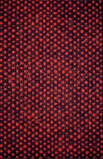 Firm coarse cloth with heavy red wefts and black warps, giving a changeable effect. Two selvage edges continous with field.