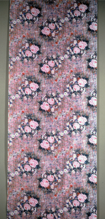 Photographic rendering of roses on densely brushed ground in manner of oil painting.  Strong pinks, blues, greens.