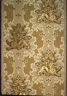 Affronted lion set within medallion stripe. Printed in metallic gold and ocher on tan ground.