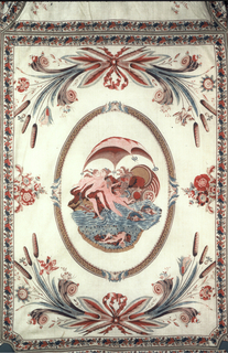 Bedcover with side borders and bolster. The central section shows a center medallion framing a scene of Venus rising from the sea attended by nymphs, cupid, and doves; dolphins swim in the sea in front of her. Below and above are festoons with flowers, cattails and ribbons. Wide side borders have two festoons each of flowers and cattails. Nestled in the festoons are additional scenes of Venus in a chariot drawn by doves and Cupid on a pedestal receiving offering from maidens and attended by winged figure. Wide border is finished with additional borders of the four elements. Bolster has a design of floral swags.