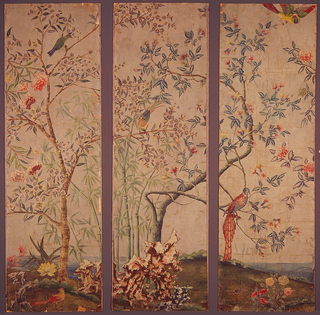 "Chinese painted scenic papers. A series of twenty four hand-painted panels, measuring 54 running feet, approximately 8'2"" high. Depicting rockery, flowering trees, flowers, birds, etc. in a non-repeating, continuous fashion. Multi-colored."