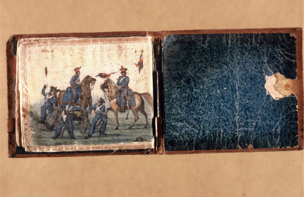 Small needle case with covers of stamped brown leather lined with green paper; inside are painted taffeta leaves lined with wool, for inserting needles. The leaves are painted with military scenes showing figures in uniforms of about 1815 - 1835.