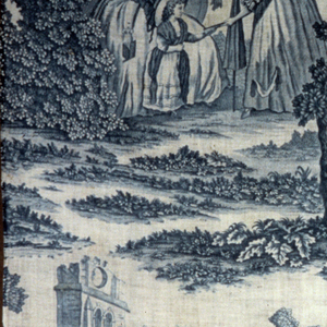 Blue textile printed with a vertical repeat pattern: main scene, at center, shows two ladies talking with a girl in a park; at the right, two ladies converse with a gentleman at the foot of a flight of stone steps with balustrade. Above, at left, two ladies being rowed in a boat by a man, past gothic ruins; at right, a lady and gentleman strolling in picturesque woods.