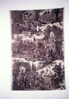 Panel of cotton, plain weave, plate-printed in violet. Design of the Four Seasons. Above, left, Cupid appearing from a cloud kisses a miaden; right, boys with sheep; center, gathering of the crops, sacrifice of offerings to Ceres; below, Bacchic revel. Printed by Hartmann et Fils - Munster 1818-1820.  Spring is portrayed by Zephyr and Flora (top), Summer by the sacrafice to Ceres (center), Autumn by the offering to Bacchus with the drunken Silenus (below) and Winter by Chronus warming himself by a fire (missing).