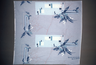 """Nine large samples showing stages in the roller printing of polychrome fabric. Final stage shows grey ground with scattered design of branches and screens in shades of green and grey, with gold. Inked onto each sample is the number of rollers used. Stamped on selvage """"A Waverly Bonded Fabric, Japonica""""."""