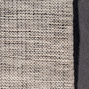 Firm, loosely woven cloth with natural linen warps spaced in threes. Untwisted beige silk weft with thin copper thread in same shed. Selvage continuous with ground on two long sides.