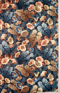 Large-scale crowded pattern of climbing vines and flowers in shades of dark brown, green, and blue with some pink.