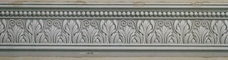 Wide band of anthemion with scrolling tendrils, below a band of beading. Printed in grisaille.