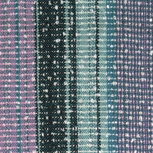 Handwoven in stripes of blue, lavender and pale green with a knotted effect in the white weft.