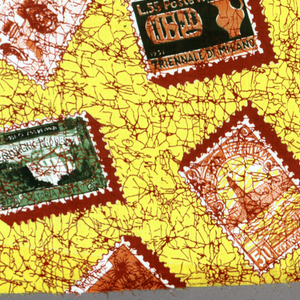 Printed cotton with design of scattered postage stamps from various countries, each with a shadow. In dark green, light green yellow, orange, and dark red on a bright yellow ground with heavy crackle effect in dark red.
