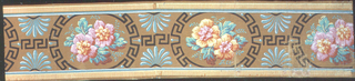Floral arrangement set within a Greek Key framed oval, with anthemia between. Printed in colors on brown ground.  H#615