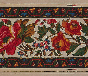 The edgings consist of two bands of imitation woven flowers. Between them is an assortment of flowers and foliage positioned along an undulating stem. Block-printed with shiny, oily pigments on joined sheets of paper.  H# 290