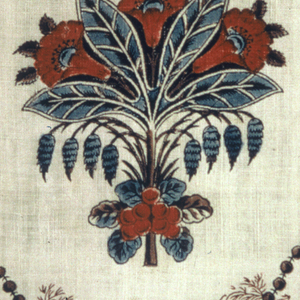 White cotton, design of horizontal rows of evenly spaced, life-sized bunches of cherries enframed by string of beads, alternating with rows of bouquets. colors; red, blue, and taupe. One selvage present.