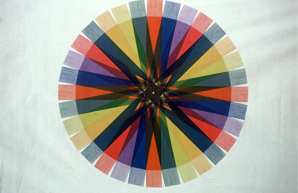 Panel of cotton sateen printed with three large circles made of of radiating bands of color: red, violet, blue, orange, green, yellow-green, yellow, and blue-green. The bands intersect as they approach the center, creating a kaleidoscopic effect.