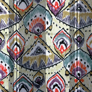 Rows of pointed ovals, triangles and teardrop shapes are outlined in black and filled in a manner suggesting hand coloring. White vertical stripes of the ground fabric give an ombré effect.