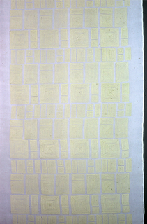 Sheer white panel printed in white in a design showing groups of concentric lines that form rectangles and squares.