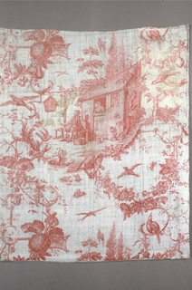 Plate printed in red showing design of a man and woman dressed in eighteenth century garments. The man is seated in front of a house with a shoe, beside him is a box of tools. Woman is looking out of the entrance door. Scene is set within large scale garlands of birds, flowers and fruit.