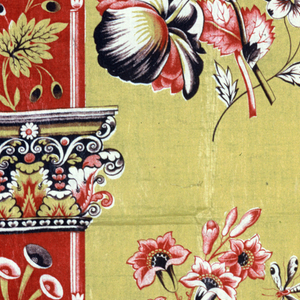 """Piece of thin glazed chintz, printed by combination of roller and block or roller and """"surface roller"""". Yellow ground, pillar design in red with capitols in yellow, black and red; sides of pillars ornamented with flower sprays in yellow, red and black. In yellow field between flower clusters of natural size, roses, pansies and columbines, with butterfly, in shades of red, sepia and yellow."""