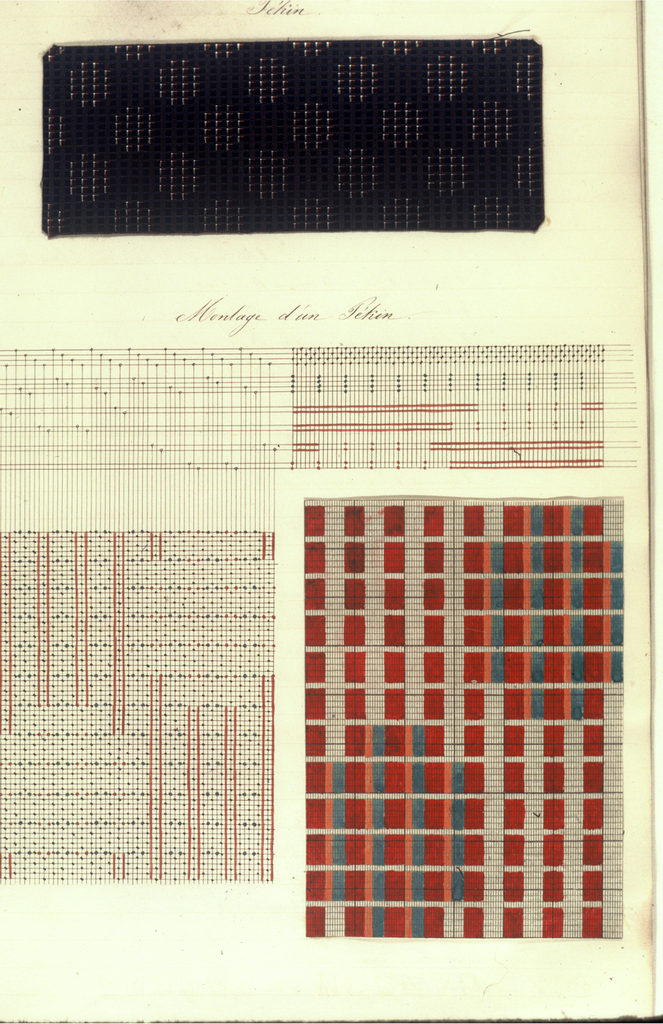 Notebook of a student's study of the theory of weaving and pattern making at Lyon and contains weave drafts, loom threadings, and fabric samples.