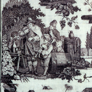 Panel probably from a curtain of white cotton, plate printed in lavendar. Design of varioud scenes of strolling players and musicians. Centre, a cart, with an old man riding the horse, woman and children in cart, musician at back; upper right, performers on an outdoor stage; lower centre, blind musician, drummer and two little dancers; lower left, musicians with people listening.