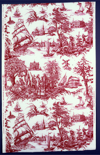 Commemorative fabric in red on a white ground showing the meeting between Washington and Rochambeau during the American Revolution.