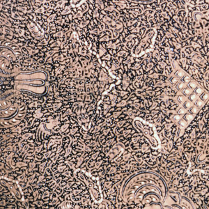 """Cotton square, possibly a head cloth (kain kepala), in dark blue, light brown, and white. Dark blue ground showing numerous white dots known as """"gabah sinawur"""" or 'grains of rice'. The """"semen"""" (curling tendrils and other non-geometric forms) and """"sawat"""" (wings and tail of Garuda, mount of Vishnu) motifs are also used."""