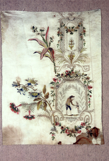 Fragment of silk embroidered with silk showing design of leaves, flower swags and lattice forming a vertical framework that encloses and man with dog. Large floral blooms, extend to the right, into unembroidered area.