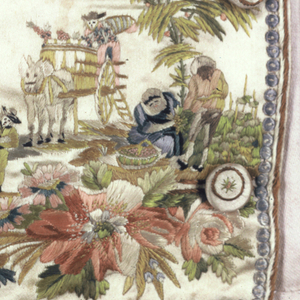 Gentleman's waistcoat with embroidered design of grape harvesting and wine casks.