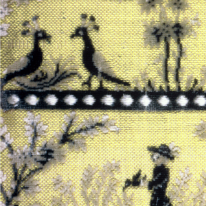 "Fragment of ""velours miniatures"" has two rows showing groups of human figures, animals and landscape elements. Ground is pale yellow with details rendered in dark blue, black, gray, and white."